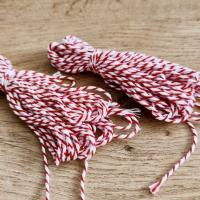Dekoračný špagát - Červeno biely - 2 mm
