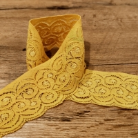 Krajka - Žltá elastická -60  mm