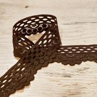 Krajka - Hnedá elastická -30  mm