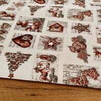 Látka pretkávaná lurexovou niťou - Vianočné vzory červené - cena za 10 cm